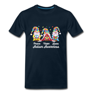 Gnome Peace Hope Love Autism Awareness Premium T-Shirt - deep navy