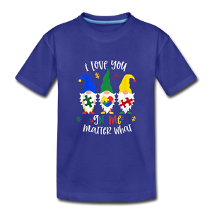 I Love You Gnome Matter What Autism Awareness Kids' Premium T-Shirt - royal blue
