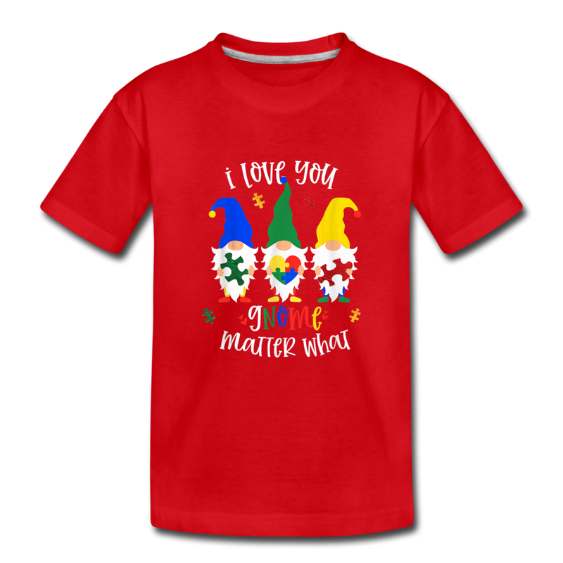 I Love You Gnome Matter What Autism Awareness Kids' Premium T-Shirt - red