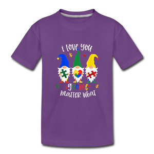 I Love You Gnome Matter What Autism Awareness Kids' Premium T-Shirt - purple
