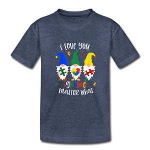 I Love You Gnome Matter What Autism Awareness Kids' Premium T-Shirt - heather blue