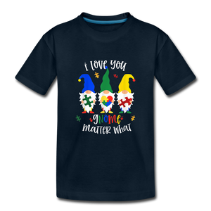 I Love You Gnome Matter What Autism Awareness Kids' Premium T-Shirt - deep navy