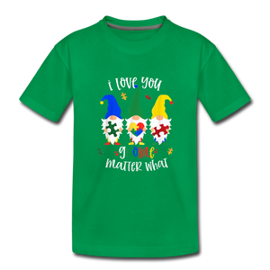 I Love You Gnome Matter What Autism Awareness Kids' Premium T-Shirt - kelly green