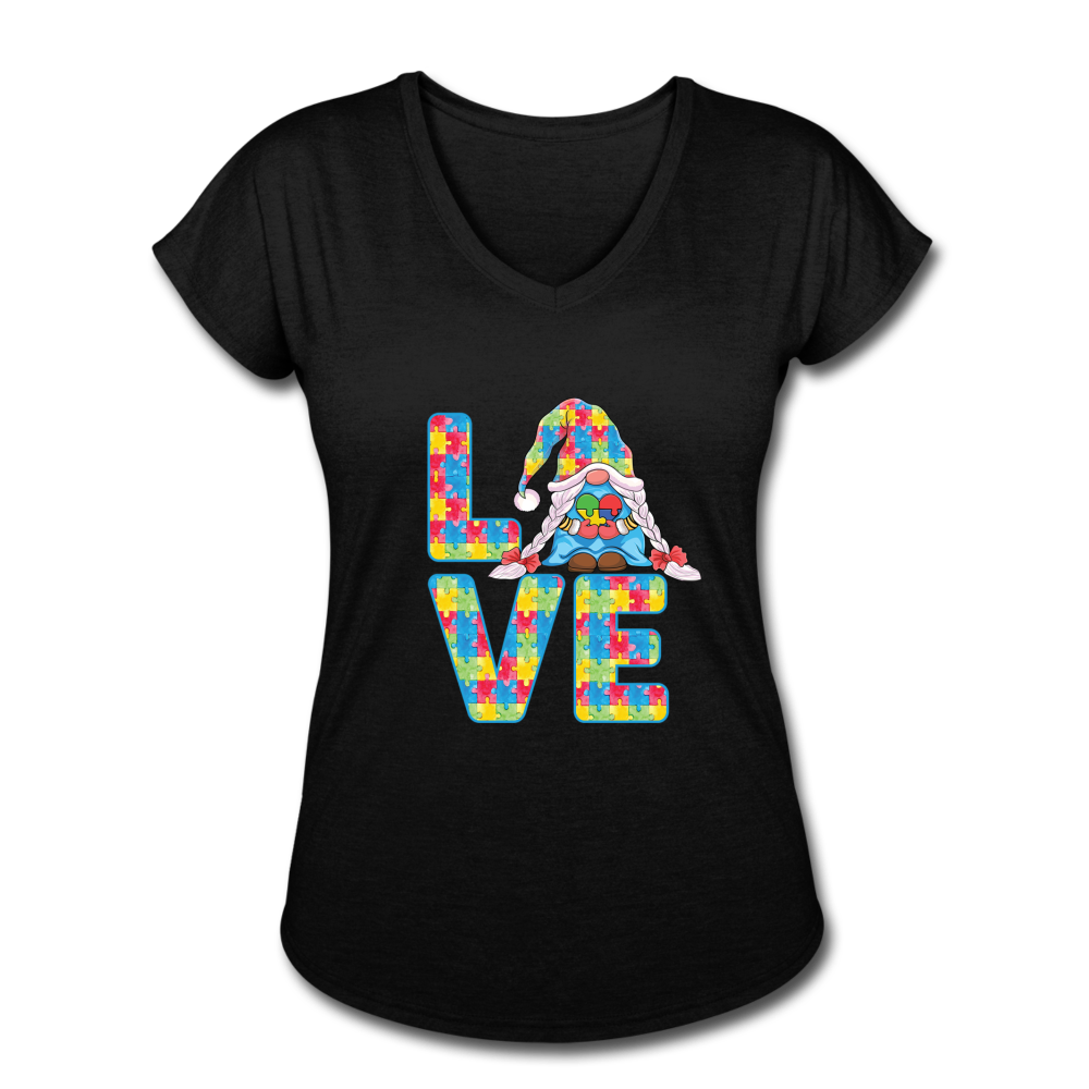 Gnome Love Autism Awareness Women's Tri-Blend V-Neck T-Shirt - black