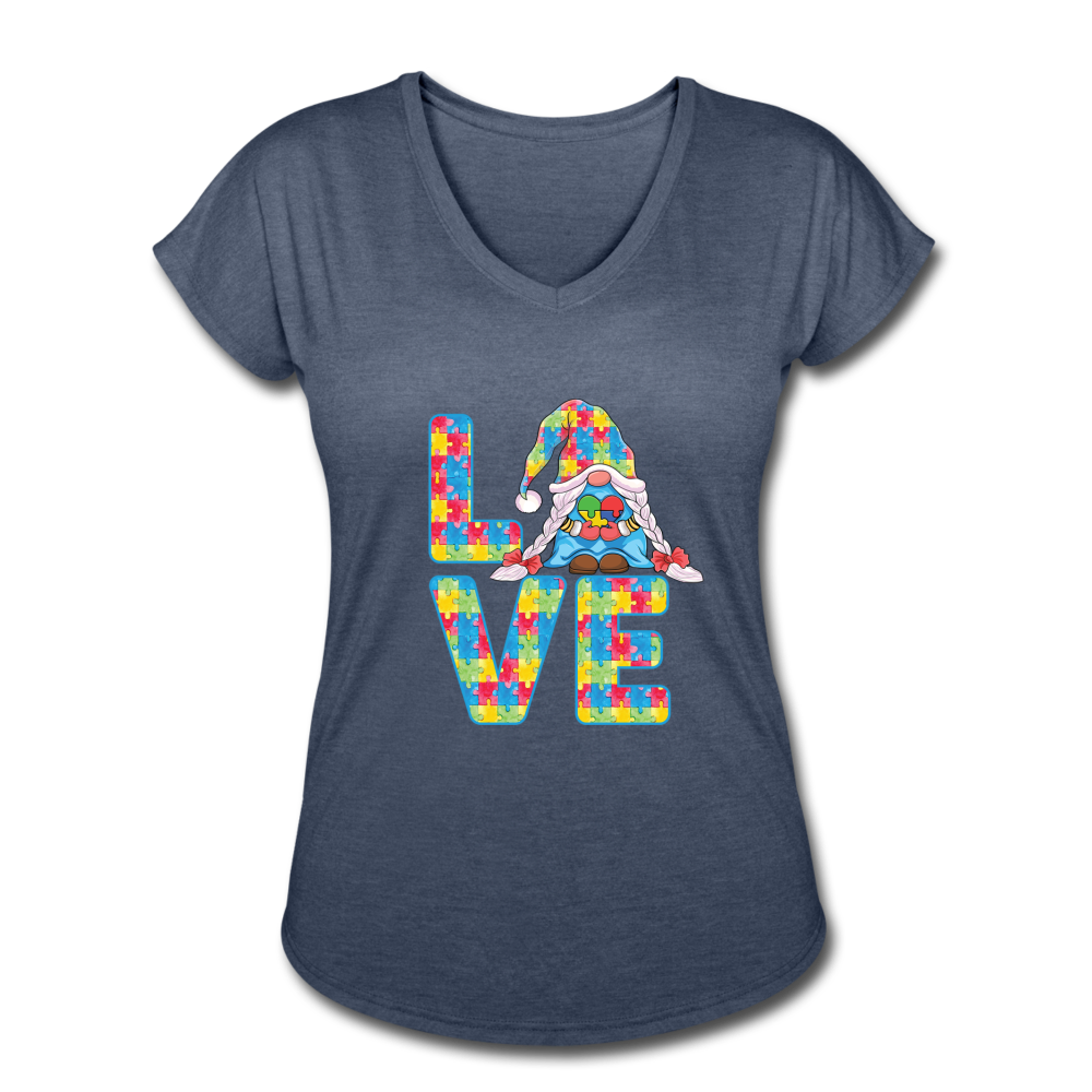 Gnome Love Autism Awareness Women's Tri-Blend V-Neck T-Shirt - navy heather