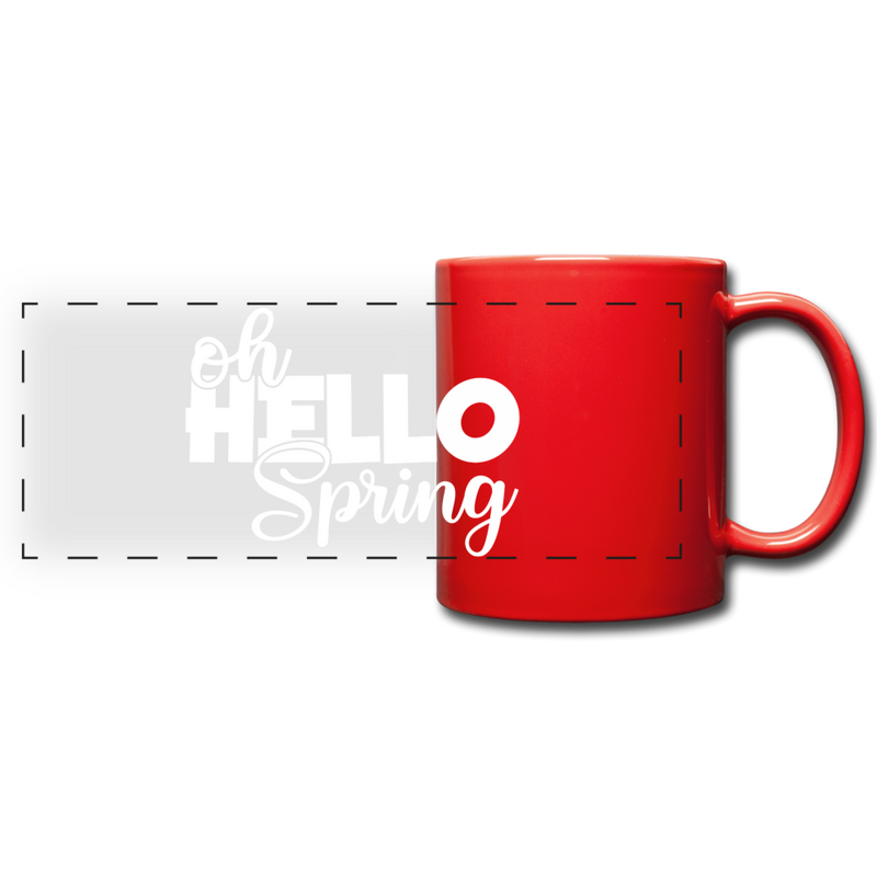 Oh Hello Spring Full Color Panoramic Mug - red