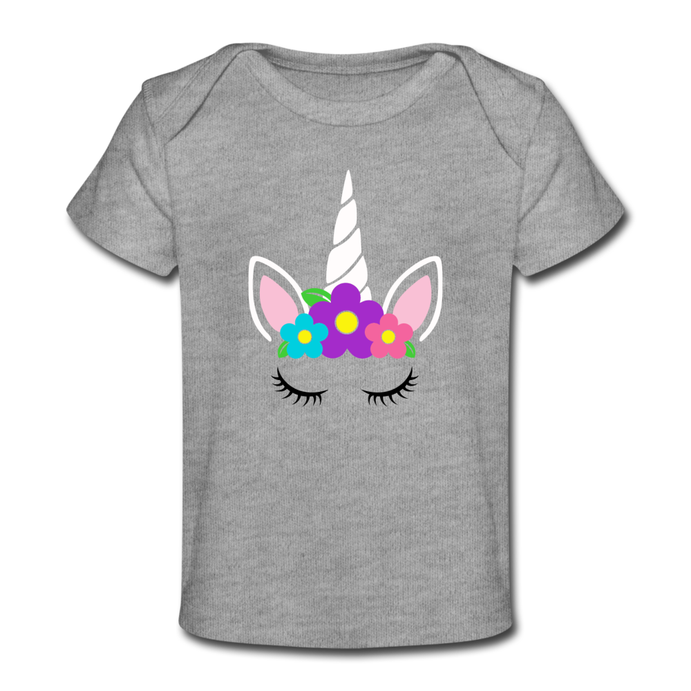 Flower Unicorn Face Organic Baby T-Shirt - heather gray