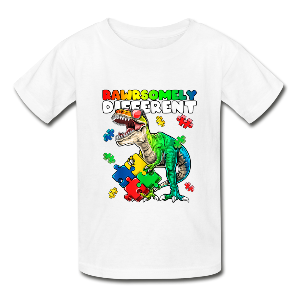 Rawrsomely Different Autism Awareness Youth Tagless T-Shirt - white