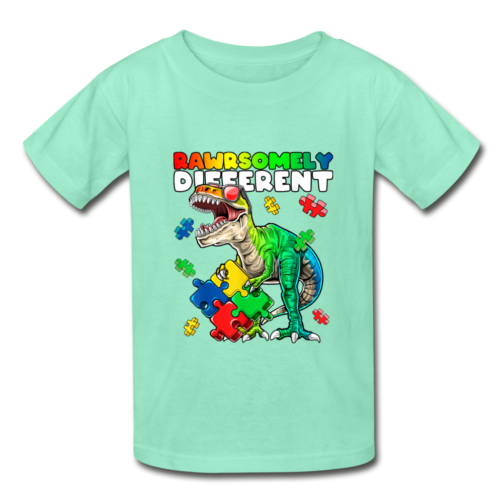 Rawrsomely Different Autism Awareness Youth Tagless T-Shirt - deep mint