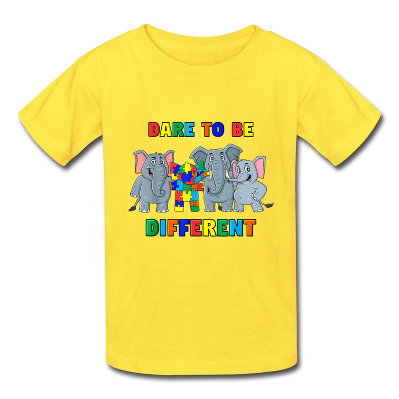 Dare to be Different Autism Awareness Youth Tagless T-Shirt - yellow