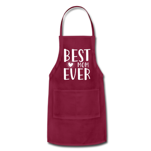 Best Mom Ever Adjustable Apron - burgundy