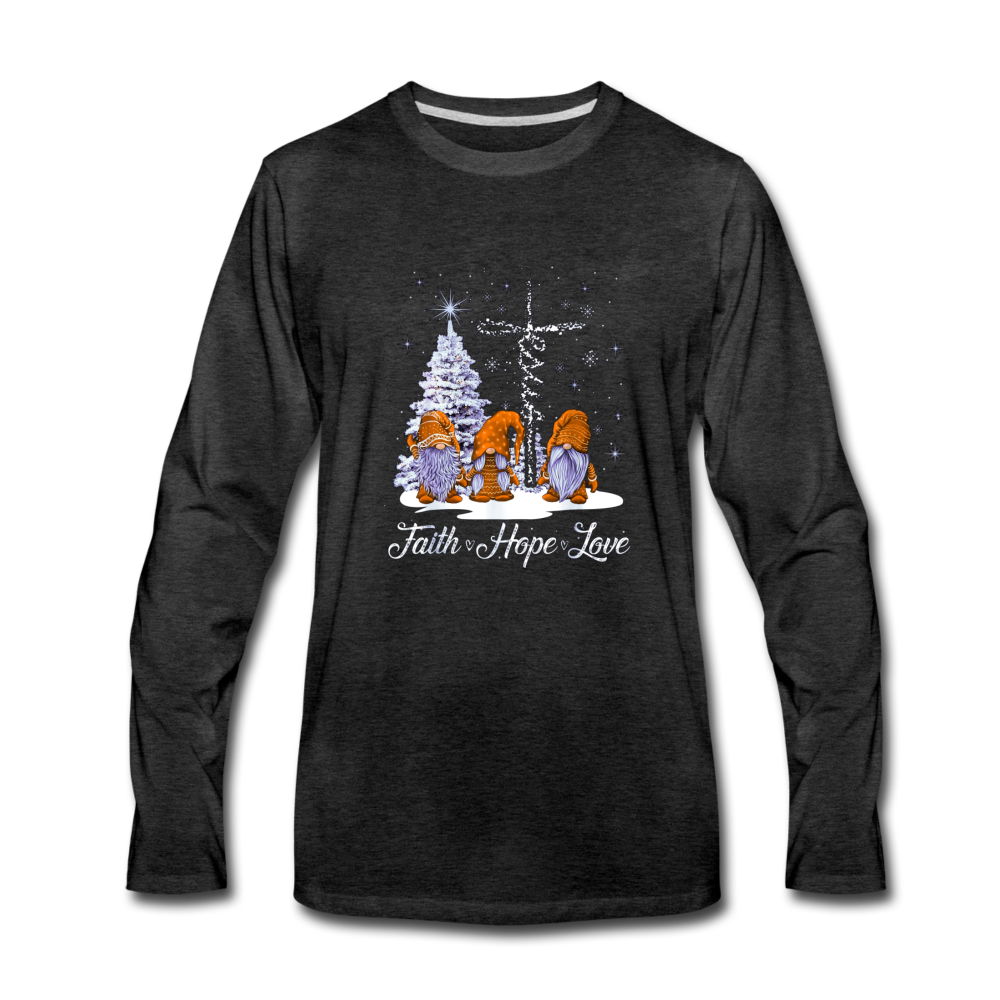 Gnome Faith Hope Love Jesus Christmas Premium Long Sleeve T-Shirt - charcoal gray