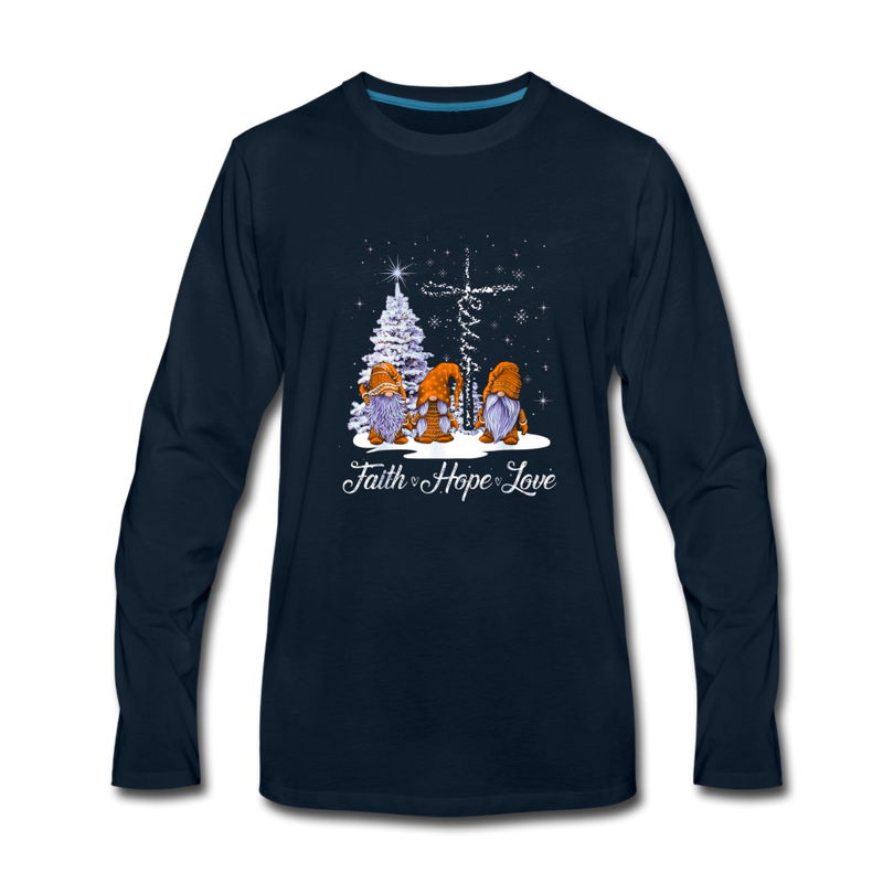 Gnome Faith Hope Love Jesus Christmas Premium Long Sleeve T-Shirt - deep navy