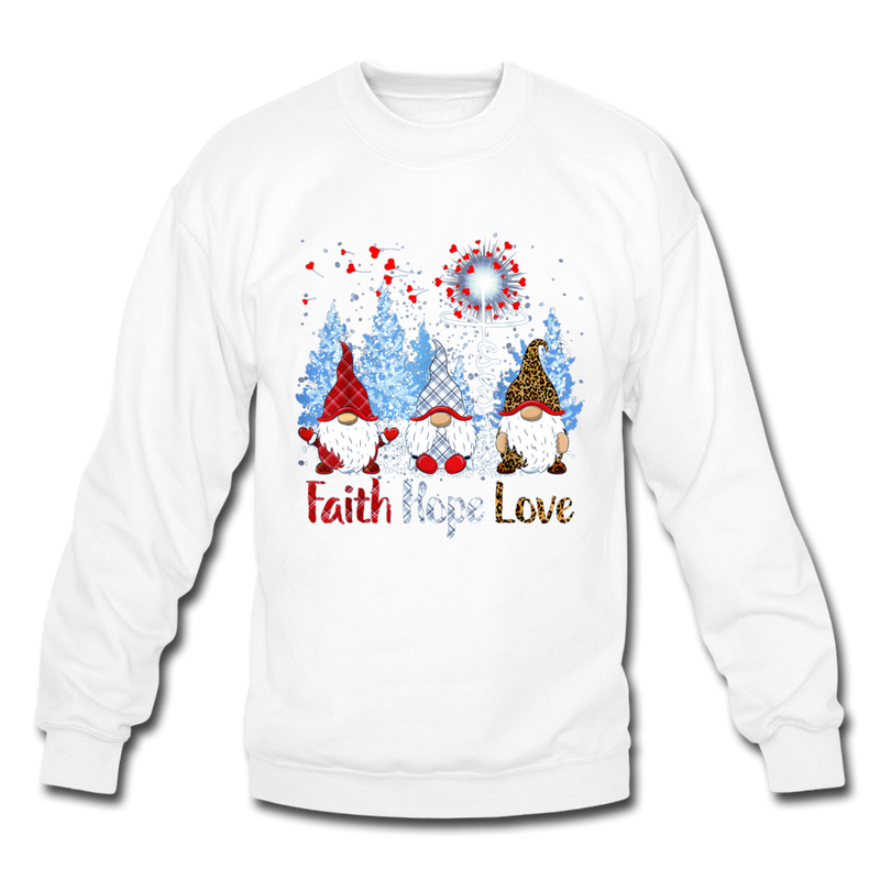 Gnome Faith Hope Love Jesus Christmas 2 Crewneck Sweatshirt - white