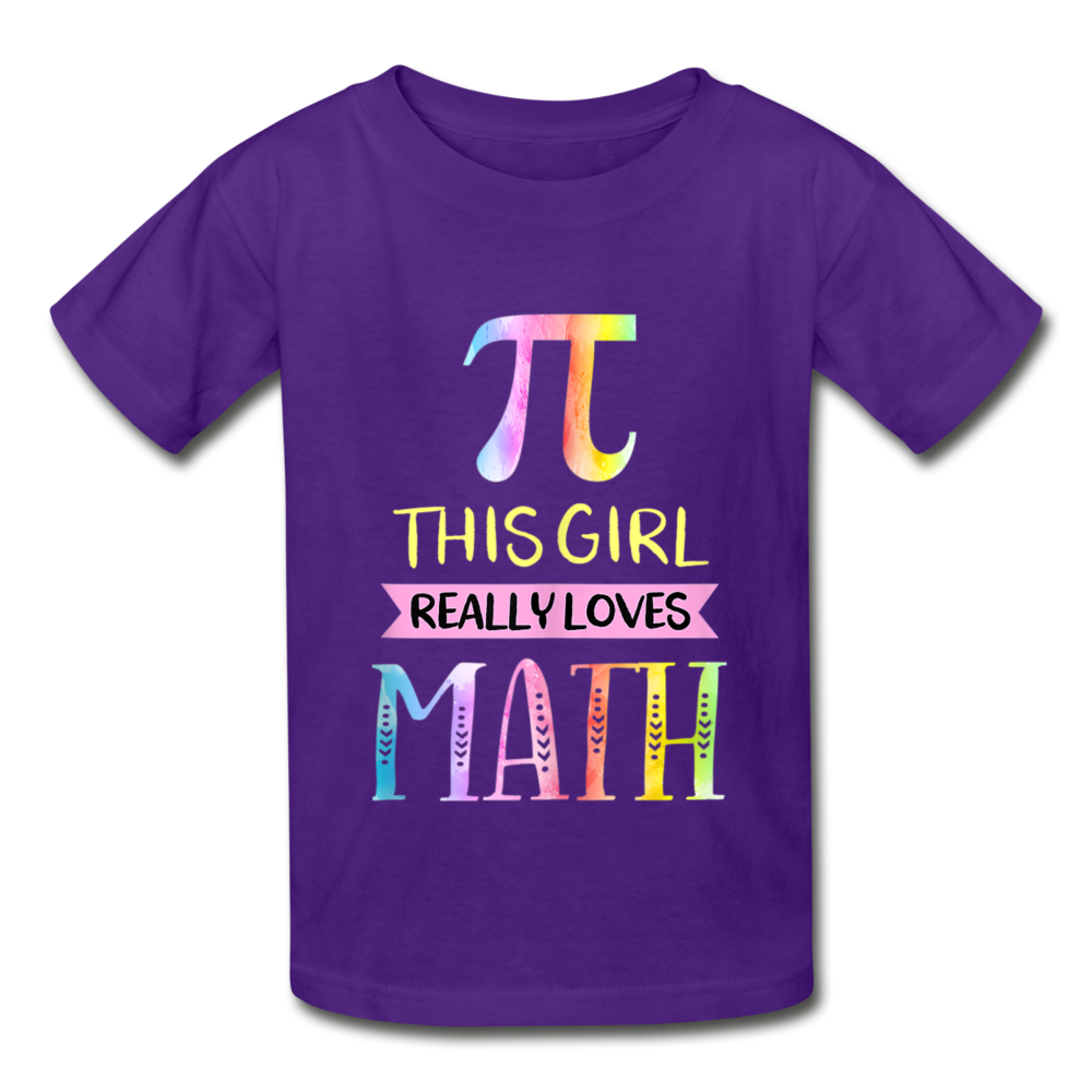 This Girl Really Loves Math Gildan Ultra Cotton Youth T-Shirt - purple