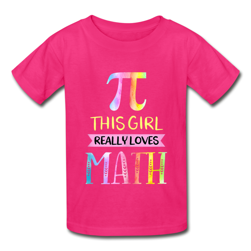 This Girl Really Loves Math Gildan Ultra Cotton Youth T-Shirt - fuchsia