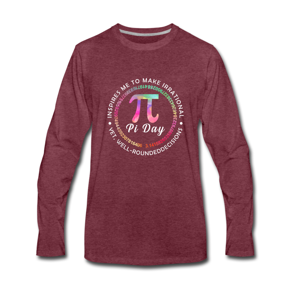 Pi Day Premium Long Sleeve T-Shirt - heather burgundy