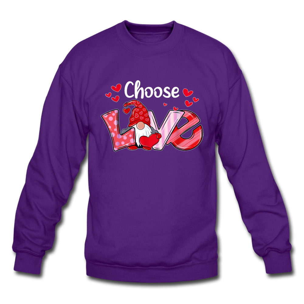 Gnome Choose Love Crewneck Sweatshirt - purple