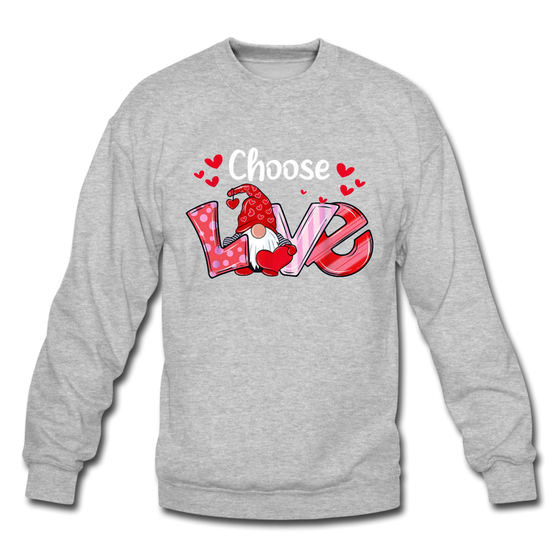 Gnome Choose Love Crewneck Sweatshirt - heather gray