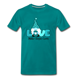 Gnome Faith Hope Love Premium T-Shirt - teal