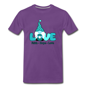 Gnome Faith Hope Love Premium T-Shirt - purple