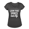 Livin' That Sports Mom Life Women's Tri-Blend V-Neck T-Shirt - deep heather