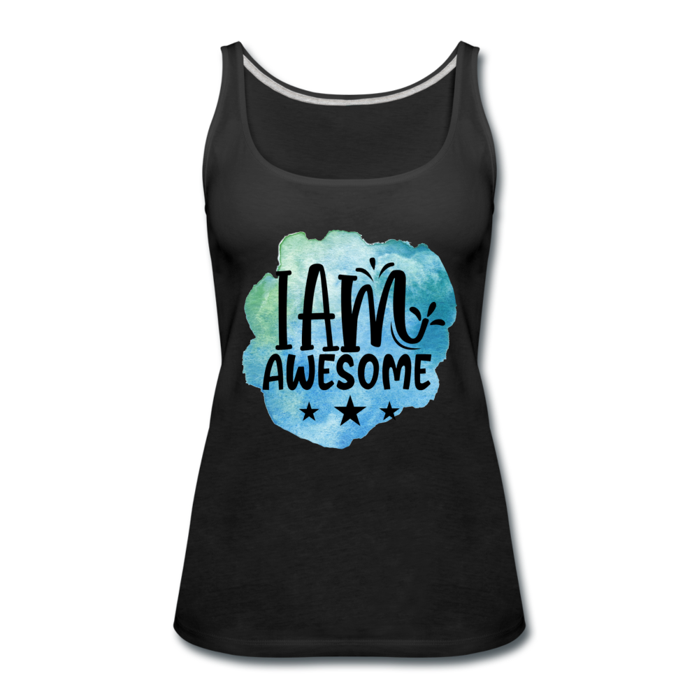 I Am Awesome Watercolor Women's Premium Tank Top - black
