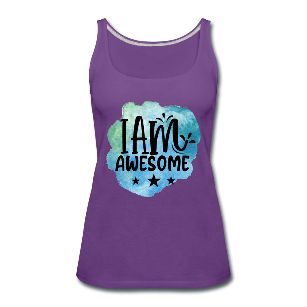 I Am Awesome Watercolor Women's Premium Tank Top - purple