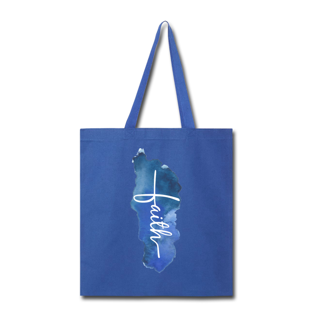 Vertical Faith Watercolor Tote Bag - royal blue