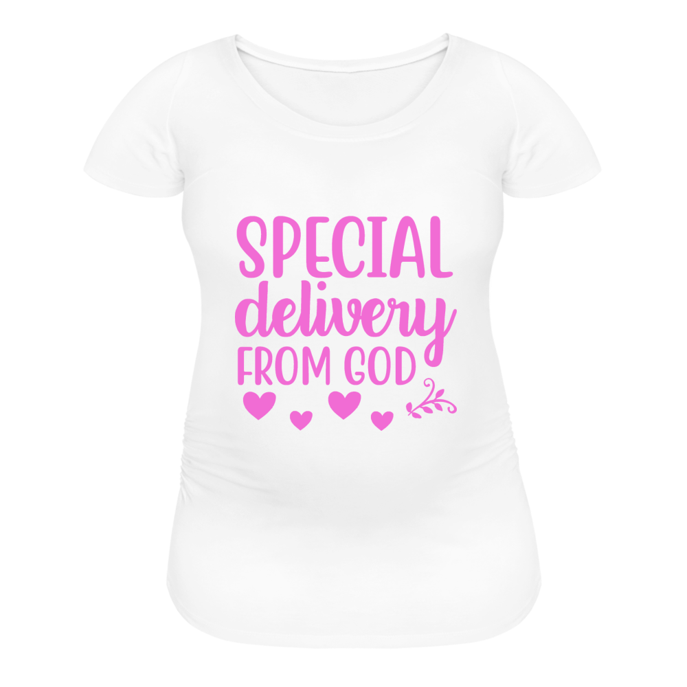 Special Delivery from God Women's Maternity T-Shirt - white