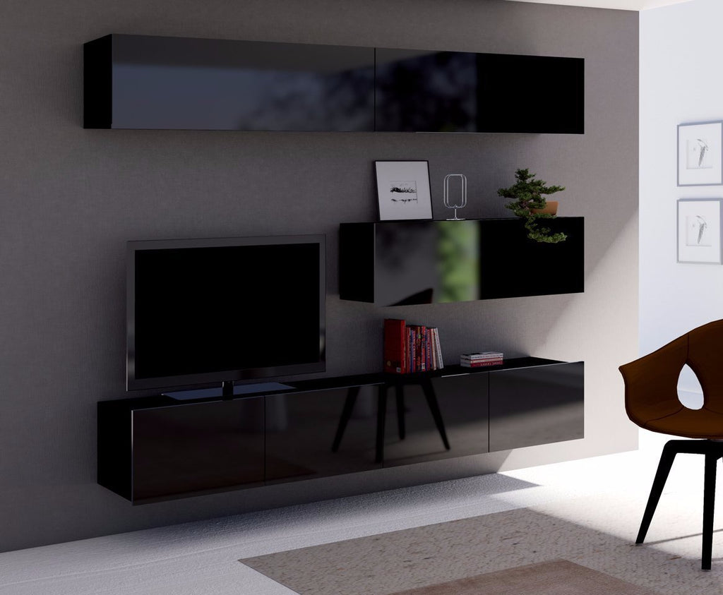 Living Room Calabrini Set 8 in Black Gloss