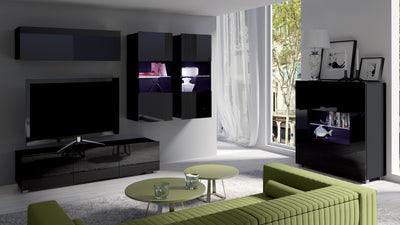 Living Room Calabrini Set 6 in Black Gloss