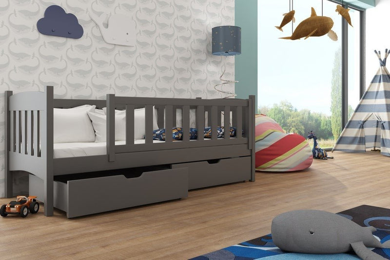 Wooden Single Bed Gucio with Storage