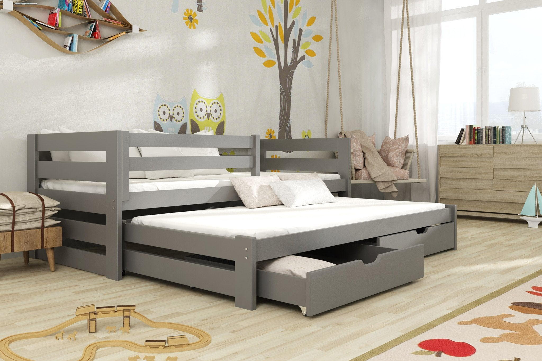 super popular 071ea 68024 Wooden Double Bed Kubus with Trundle and Storage