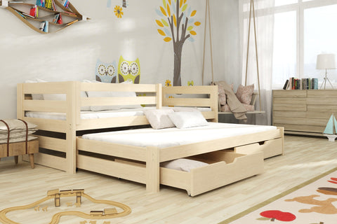 Wooden Double Bed Kubus with Trundle and Storage