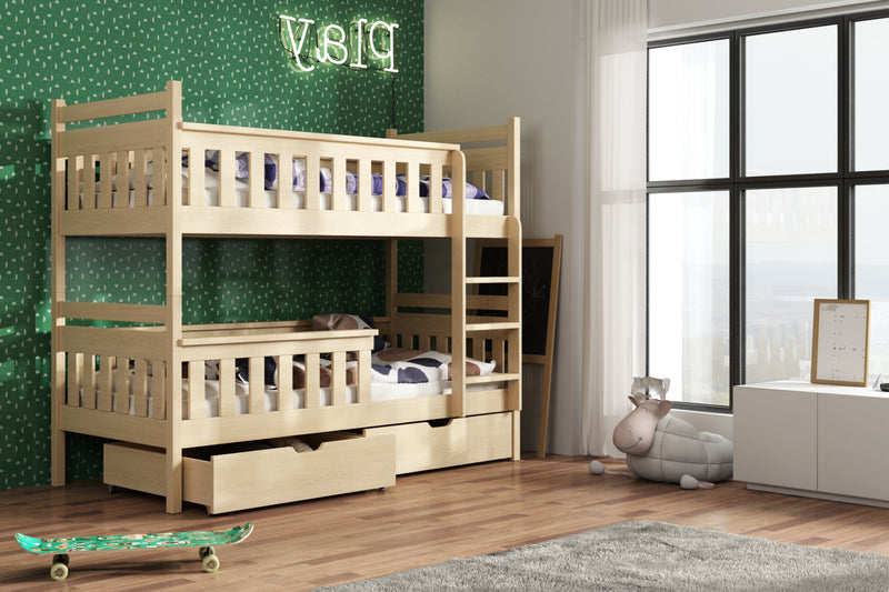 Wooden Bunk Bed Tezo with Storage