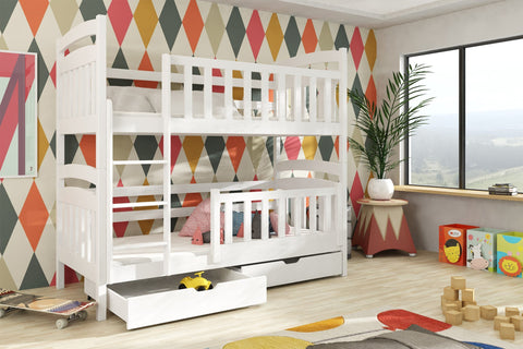 Wooden Bunk Bed Piotrus with Storage