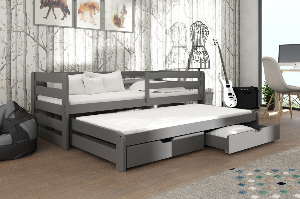 Wooden Double Bed Kubus With Trundle And Storage Arthauss Furniture