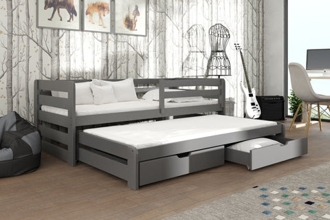Wooden Double Bed Senso with Trundle and Storage