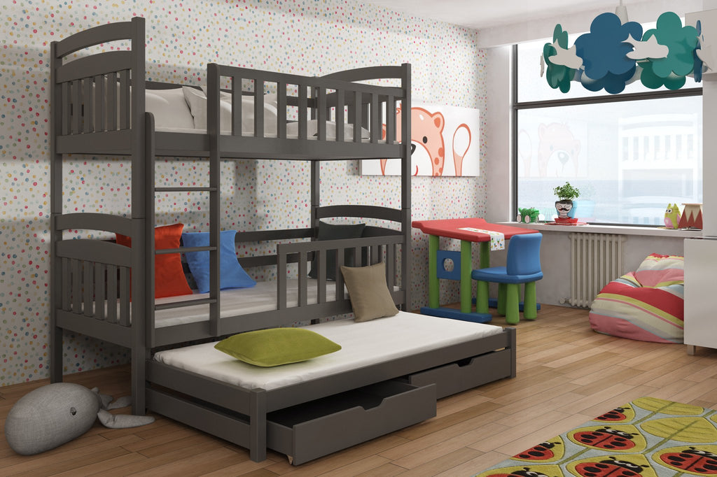Wooden Bunk Bed Anatol With Trundle And Storage Arthauss