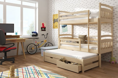 Wooden Bunk Bed Alan with Trundle and Storage