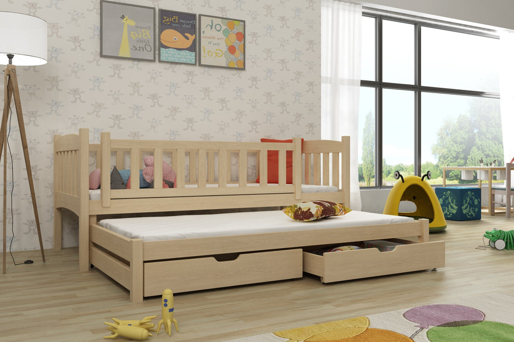 Wooden Double Bed Amelka with Trundle and Storage