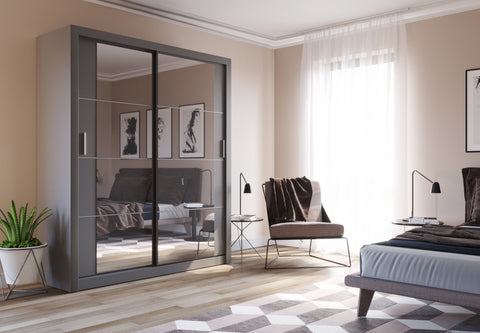Arti 3 Grey 2 Sliding Door Wardrobe 181cm