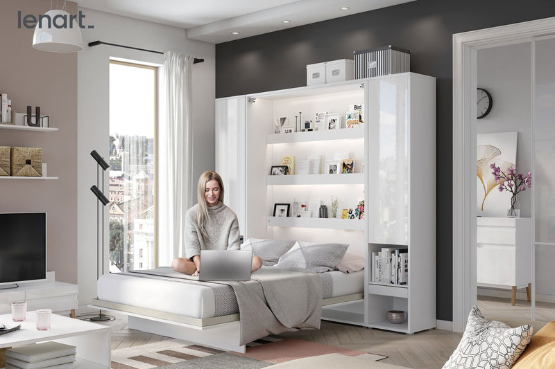 BC-13 Vertical Wall Bed Concept 180cm With Storage Cabinets and LED