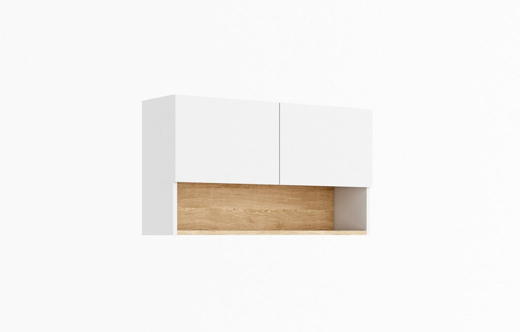 Claro CR-02 Wall Hung Cabinet 86cm in White Matt/Riviera Oak