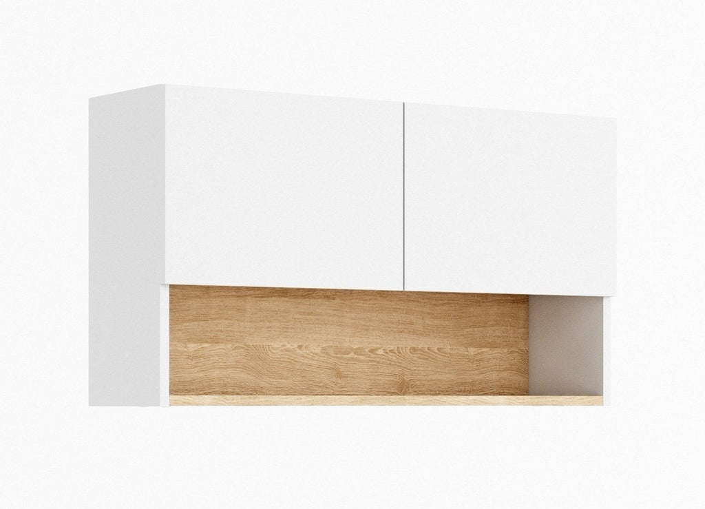 Claro CR-04 Wall Hung Cabinet 56cm in White Matt/Riviera Oak