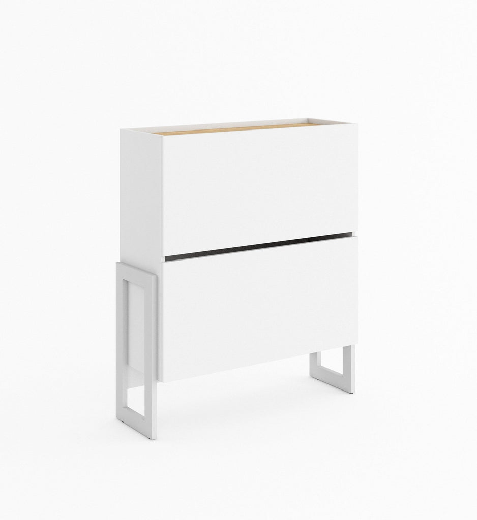 Claro CR-03 Sideboard Shoe Cabinet 90cm in White Matt/Riviera Oak
