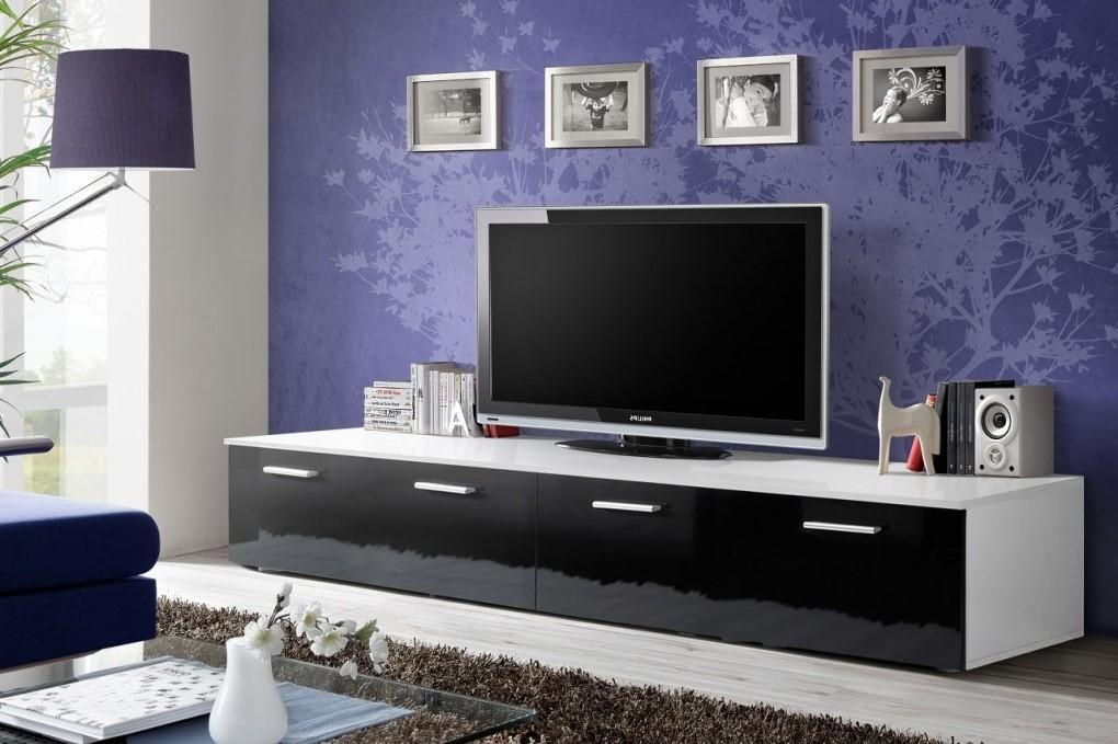 Duo TV Cabinet in White and Black Gloss