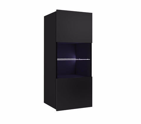 Calabrini Wall Hung Display Cabinet in Black Gloss