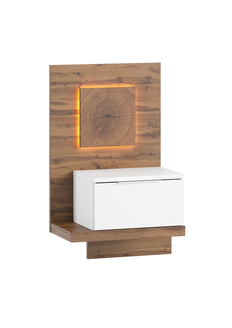 Livorno 68 Bedside Table in Wotan Oak and White - Left